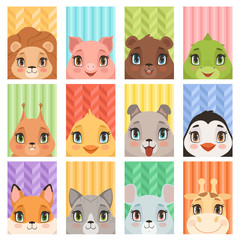 Animal kids portrait. Lion penguin giraffe crocodile fox baby animals avatars with head ears nose dog mouse pig vector cartoon cards. Character lion and pig, crocodile and mouse illustration