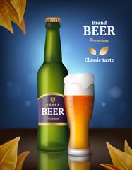 Beer alcohol poster. Drink bottles and glasses beer advertizing background of beverages retail vector image product. Mug beer and bottle glass, drink alcohol beverage illustration