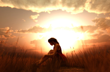 3d illustration of a girl sitting alone in grass field