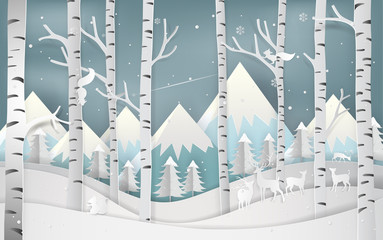 Illustration of merry christmas day and new year greeting card concept. Winter season and beautiful of forest woods with mountains landscape background. Paper art and digital craft style.