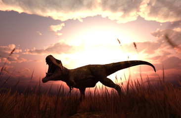 3d rendering of a Dinosaurs in grass field