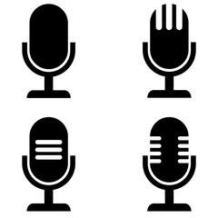Microphone vector icon, logo on a white background