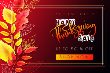 Vector greeting thanksgiving sale promotion banner with hand lettering label - happy thanksgiving - with bright autumn leaves and doodle leaves