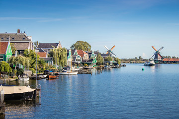 Panorama of windmills at Zaanse Schans at Amsterdam, Netherlands