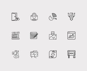SEO icons set. Market analysis and SEO icons with image optimization, hosting and revenue. Set of wrench for web app logo UI design.