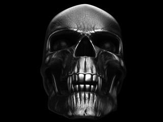 Grim black metal vampire skull