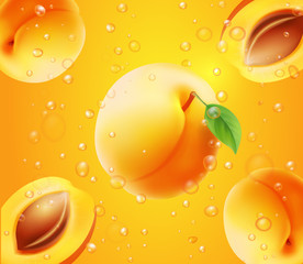 Apricot in juice orange background realistic illustration