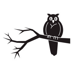 Owl on tree icon. Simple illustration of owl on tree vector icon for web design isolated on white background