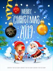 Santa Claus with the symbol of 2019 Pigs on skates rushes for holiday on the field with Christmas trees.Christmas time with snow light Decoration of poster card and holiday background. 2019 New year.