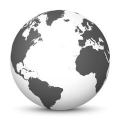 White 3D Globe Icon with Gray Continents and Atlantic Ocean in the Center - Planet Earth - World Symbol