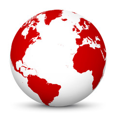 White 3D Globe Icon with Red Continents and Atlantic Ocean in the Center - Planet Earth - World Symbol