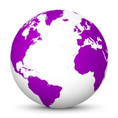 White 3D Globe Icon with Violet Continents and Atlantic Ocean in the Center - Planet Earth - World Symbol