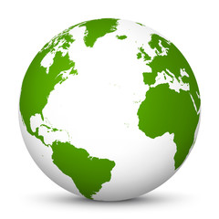White 3D Globe Icon with Green Continents and Atlantic Ocean in the Center - Planet Earth - World Symbol