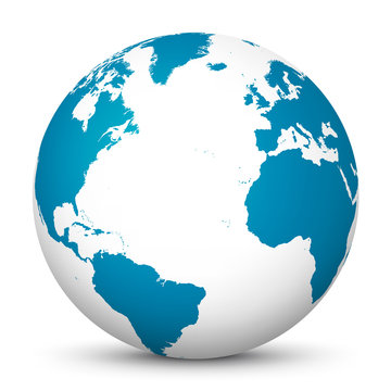 White 3D Globe Icon with Blue Continents and Atlantic Ocean in the Center - Planet Earth - World Symbol