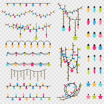 Christmas garland string and glass vintage light bulb of different colors. Vector cartoon Xmas decoration element set isolated on a transparent background.