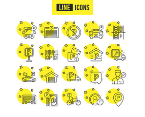 Parking line icons. Set of Garage, Valet servant and Paid parking linear icons. Video monitoring, Bike or Car park and Truck or Bus stopping. Money payment, Map pointer and Free park place. Vector
