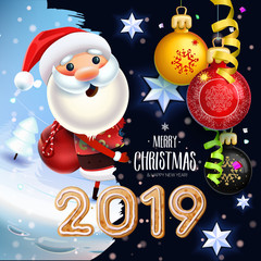 2019 New year & Merry Christmas symbol. Santa Claus on a winter background with gifts, Christmas toys, stars, candy, sweets and Christmas Cookies.Decoration of poster card holiday background. Winter.