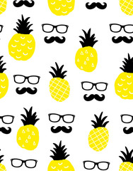 Seamless background with yellow pineapples and male faces in glasses.