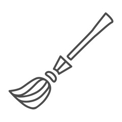Witch's broom thin line icon. Sweeping broom web vector illustration isolated on white. Besom outline style design, designed for web and app. Eps 10.