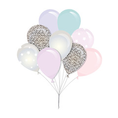 Glossy balloons. bunch For birthday, baby shower or holidays design.