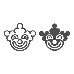 Clown mask line and glyph icon. Halloween mask vector illustration isolated on white. Circus mask outline style design, designed for web and app. Eps 10.