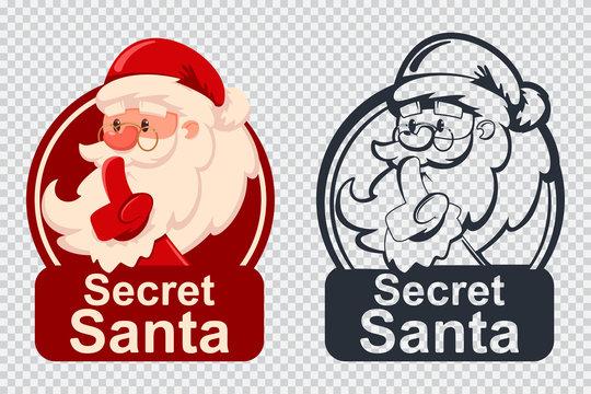 Secret Santa vector cartoon funny Christmas icon isolated on a transparent background.