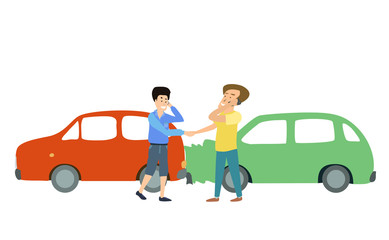 two smiling men with two cars accident. Cartoon Illustration.