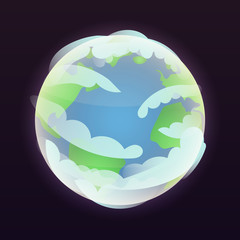 Space earth planet icon. Isometric of space earth planet vector icon for web design isolated on black background