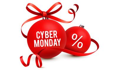 Cyber Monday - Rote Weihnachtskugeln mit geschwungener Schleife und Typografie
