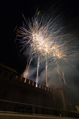 Fuochi d'artificio dal castello, Galliate, Novara, Piemonte, Italia