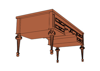 brown writing desk vector