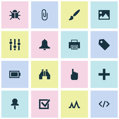User icons set with image, stabilizer, brush and other pin  elements. Isolated vector illustration user icons.