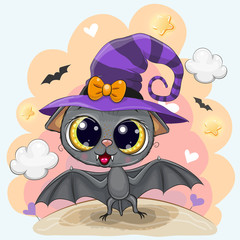 Cute Bat in a halloween hat