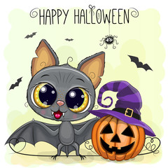 Cute Cartoon Bat with pumpkin