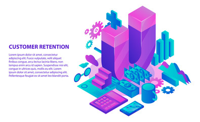 Management customer retention concept background. Isometric illustration of management customer retention vector concept background for web design