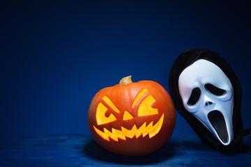 Halloween pumpkin and mask.
