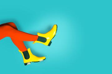Woman legs in  Rain Boots