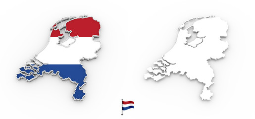 3D map of Netherlands white silhouette and flag