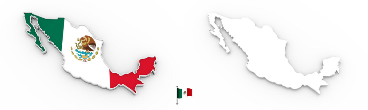 3D map of Mexico white silhouette and flag
