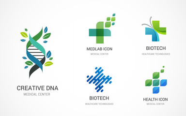 Pharmaceutical, medical, healthcare and pharmacy icons, logos - stock vector