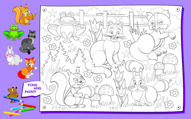 Page for coloring book for kids. Need to find and paint the animals. Logic puzzle game. Developing children skills for drawing. Vector cartoon image.