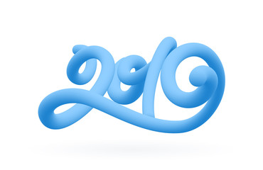 Vector illustration: Blue 3d calligraphic number lettering of 2019 on white background. Happy New Year