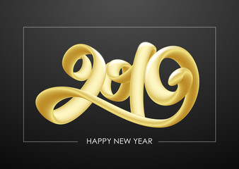 Vector illustration: Golden 3d calligraphic number lettering of 2019 on black background. Happy New Year