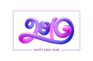 Vector illustration: Colorful Abstract 3d calligraphic number lettering of 2019. Happy New Year