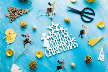 Christmas concept background with decorations  needed to celebrate christmas over a blue azul background