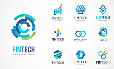 Logo set - fintech, blockchain, technology, biotechnology, tech icons and symbols