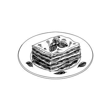 Vector hand drawn lasagna. Dishes of Italian cuisine.