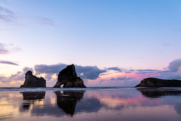 The beautiful Wharariki Beach with famous rocks. Sunset scene golden light and silhouette. Nelson, South Island, New Zealand.