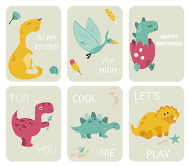 Set of greeting cards with dinosaurs