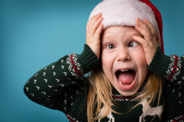 Stressed Little Christmas Girl Screaming in Panic